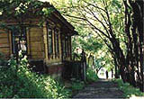 Wooden house on a quiet path