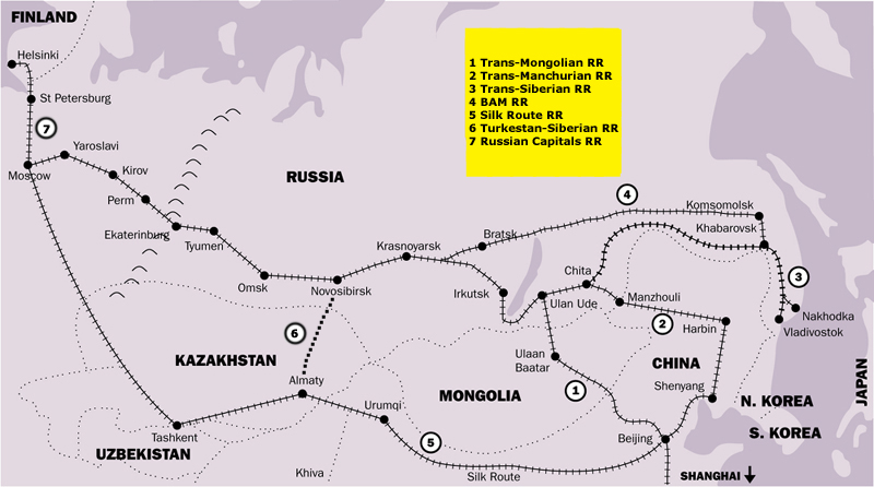 Russia & Northern Asia Rail Routes